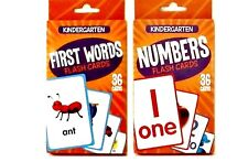 FIRST WORDS, NUMBERS FLASH CARDS Set -72 Kindergarten English Math Ages 4-7 NEW!
