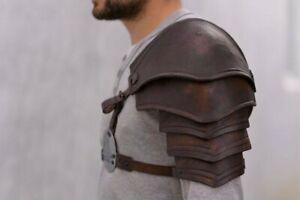 Medieval LARP Fantasy Armor, Leather Pauldron with Valknut Symbol Norse Viking