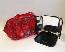 Travel Cosmetic Purse Portable 3 Way Vanity Mirror Fabric Floral Makeup Bag Set