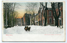 Mountain Street in Winter Snow Horse Sleigh Montreal Quebec Canada postcard