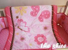 Baby Bedding Crib Cot Quilt Sheet Set 8pcs Quilt Bumpers Sheet Dust Ruffle