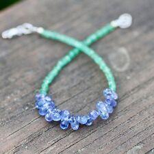 Natural Tanzanite Emerald Bracelet Solid 18K White Gold 20th 24th Anniversary