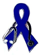 Blue Ribbon Stethoscope Lapel Pin Colon Cancer Awareness Silver Plated Enamel