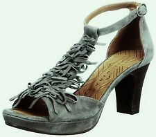 CHIE MIHARA SHOES ENCUENTRO FRINGE T-STRAP HEELS ANKLE STRAP GRAY SUEDE 37 $350