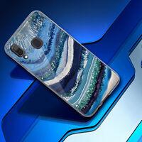 For Samsung Galaxy A10e A20 A30 A50 Case Blue Glitter Marble TPU +Tempered Glass