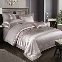 Luxury Silky Satin Jacquard Cotton Duvet Cover 4pcs Bedding Set Bed Bedspread