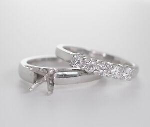 PLATINUM DIAMOND BRIDAL SET SEMI-MOUNT ENGAGEMENT RING 7US