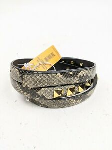 NEW $225 Tory Burch Skinny Studded Hip Belt Snakeskin Print Sz L