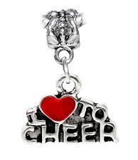 I Love to Cheer Red Heart Cheerleader Dangle Bead for European Charm Bracelets
