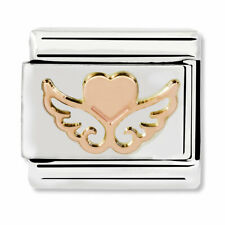 GENUINE Nomination Classic Rose Gold Heart With Wings Charm 430104/01 / £15 RRP