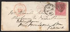 QV sg 66 tied to envelope to France with PD pmk also red TPO ( Back flap missing