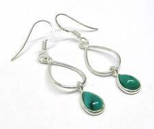 Handmade in 925 Sterling Silver Real Turquoise Teardrop Drop Earrings