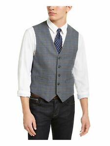 TOMMY HILFIGER Mens Gray Plaid Sleeveless Classic Fit Button Down Vest L