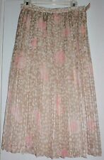 JULIE FRANCIS COUTURE VINTAGE PLEATED SILK  SKIRT  8  BEIGE AND PINK  Excellent!