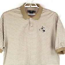 Nike Golf Disney Men's Beige Striped Embroidered Mickey Golf Polo Shirt Sz Large