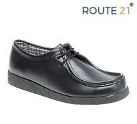 BOYS SMART  Apron Front Lace Up Black Leather School Shoes - Size 13 1 2 3 4 5 6