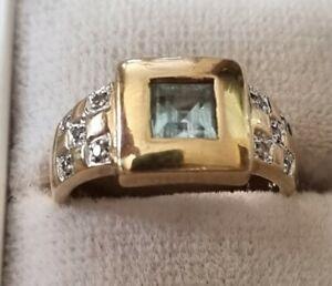Massiver GOLDRING mit Blautopas & Diamanten  anschauen!