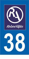 Département 38 MOTO 1 autocollant style plaque moto 3 x 6 cm RHONE ALPES LOGO RA
