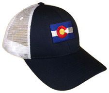 Navy Blue   White Colorado CO State Flag Mesh Golf Trucker Cap Caps Hat Hats daed4f3eef26