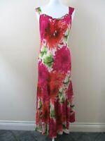Pomodoro maxi dress size 12 pink orange + floral tie with beads flared hem.
