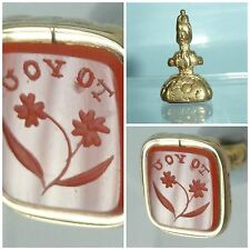 Victorian Intaglio Seal Fob Forget me Not Flower motto To You Carnelian Agate