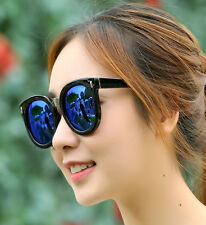 Mohawk Ladies Oversize Fashion Designer Sunglasses  Black & Blue Mirror UV400 Y5