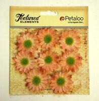 Mini Daisies PEACH x 8 BURLAP 30mm across Textured Elements Petaloo
