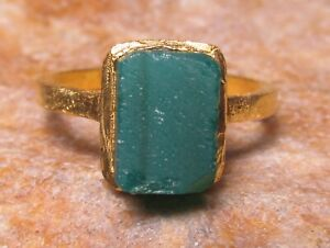 Gold plated brass natural green onyx ring UK L/US 5.75. Gift bag