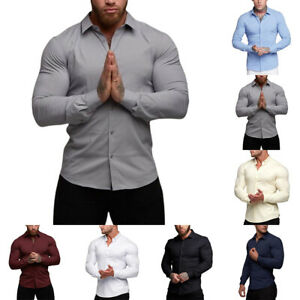 Mens Long Sleeve Plain Work Business Wedding Party Button Down Shirts Slim Tops