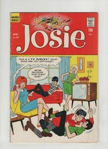 """JOSIE #19 VG, Dan DeCarlo cover & art, """"The Hold Up"""", """"Swell Feet"""", Archie comic"""