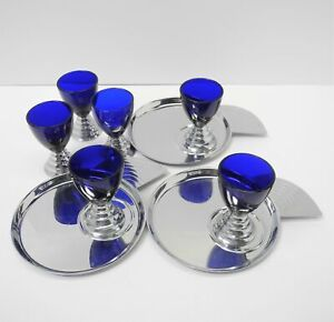 6 RARE Art Deco CHASE BLUE MOON COBALT COCKTAIL GLASSES 3 Plates