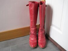 BELSTAFF TRIALMASTER ANTIQUE RED LEATHER KNEE HIGH BOOTS UK 6 EU 39 RRP £499.00