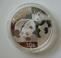 CHINA 10 YUAN 2008 PANDA 1OZ 1Unze AG999 UNC IN CAPSULE ORIGINAL WITH BONUS BOX