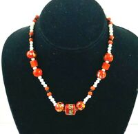 """Vintage Art Glass Bead Necklace Red White Black 16"""""""
