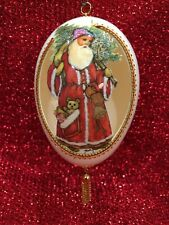 Vintage Christmas Hand Carved Goose Egg, Collectible, signed & dated 1992