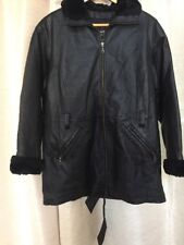 Mens Wilsons Black Leather Jacket Sz. Small Thinsulate Faux Fur Trim Coat