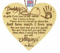 Daddys Girl Oak Hanging Wooden Heart Fathers day Gift For Him Daughter Thank You