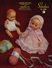 "VINTAGE  KNITTING  PATTERN COPY TO KNIT FOR DOLLS - FOR 10 & 14"" DOLLS - 1950's"