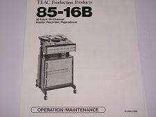 Teac 85-16B 16 Track 16 Channel Master Recorder  PDF Manual