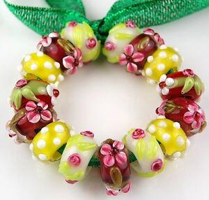 15 PCS Lampwork Glass Beads European Charm Pink Orange Yellow Flower Spacer 8x14
