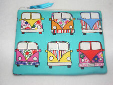 'Camper Vans VW' Retro Style Fabric Handmade Double Zip Coin Purse/ Make up