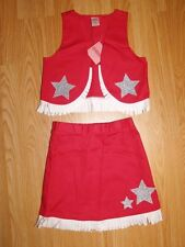 NWT GYMBOREE Red COWGIRLCostume Silver Glitter Star White Trim Sz 3-4