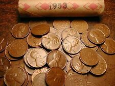 1953-P LINCOLN WHEAT CENT PENNY ROLL, nice condition