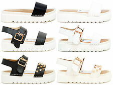 WOMENS GIRLS STRAPPY SANDALS SLINGBACKS CLEATED SLIPPERS SUMMER PEEPTOE SHOES