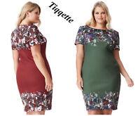 Goddiva Wine/Green Plus Size Short Sleeved Floral Print Midi Dress Sizes 16 - 26
