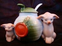 Art Nouveau Style Mustard pot Figurine Pig Wildlife Art Deco-German Style Porcel