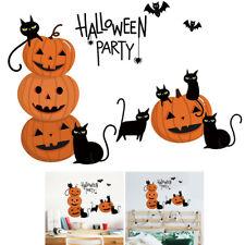 Halloween Bat Pumpkin Cat Letter Wall Sticker Festival Home Bar Decor Gracious