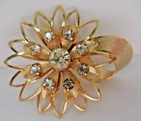 Vintage Flower Rhinestone Gold Costume Brooch Pin