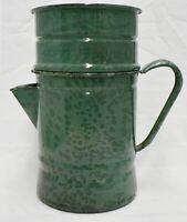 VINTAGE GREEN SPECKLE ENAMELWARE COFFEE POT WITH DRIP TRAP, MISSING LID