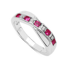 STERLING SILVER 0.25ct PINK TOPAZ & DIAMOND CHANNEL SET ETERNITY RING